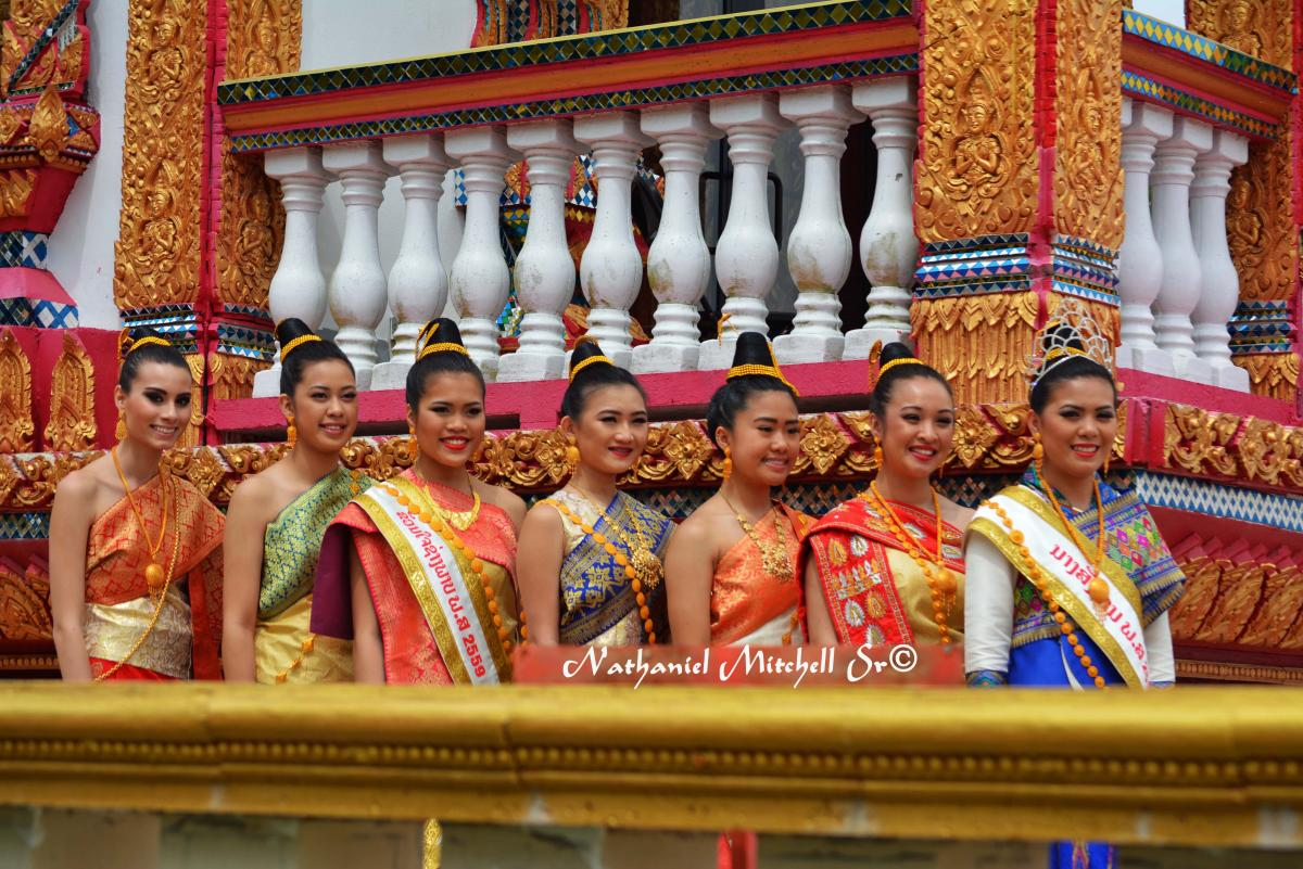 Ladies dressed up at Lao temple