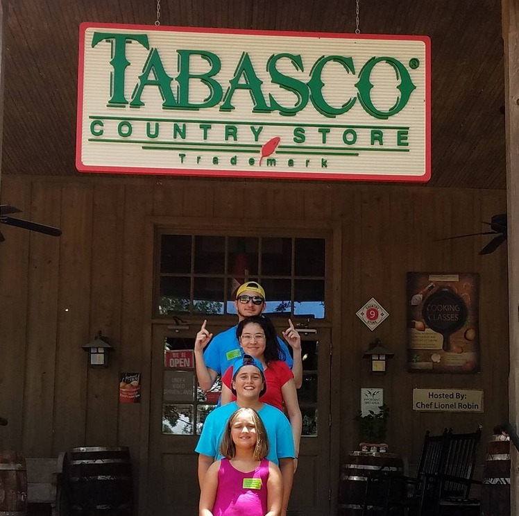 Family in front of Tabasco Country Store on Avery Island