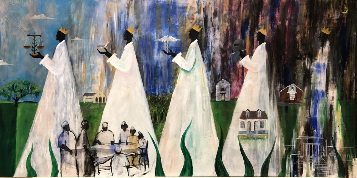 75th anniversary of the 1944 expulsion of Iberia Parish black leaders painting by Paul Schexnayder