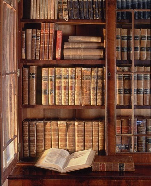 Library at Shadows on the Teche plantation home in New Iberia Louisiana