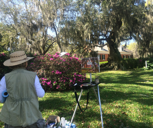 shadows on the teche plein air lady painting at shadows