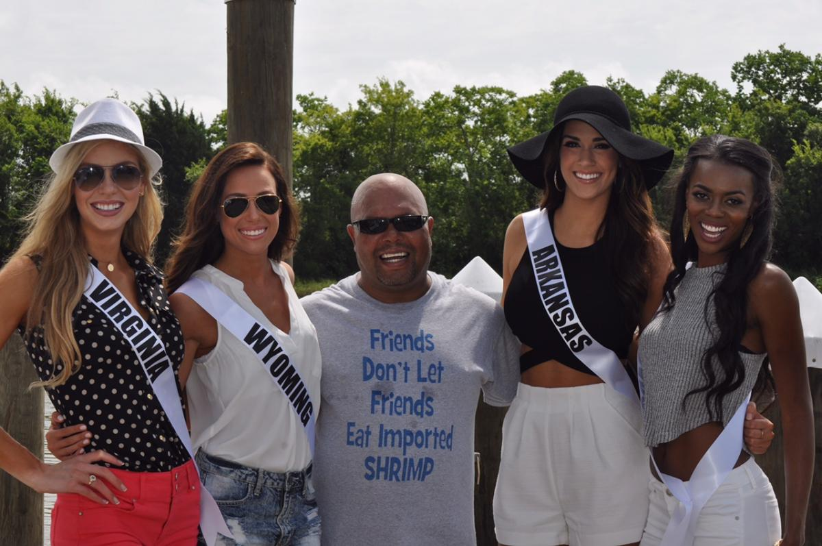 Delcambre Shrimper with Miss USA contestants