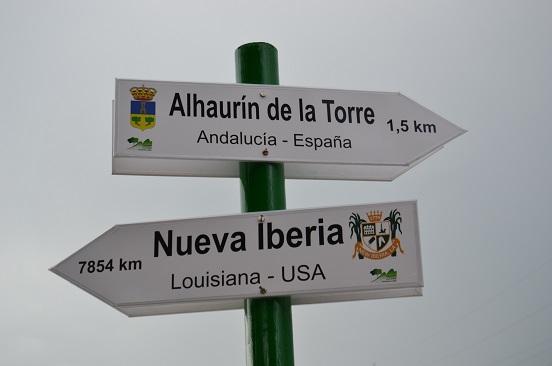 New Iberia sign in Alhaurin de la Torre, Spain, New Iberia's twin city