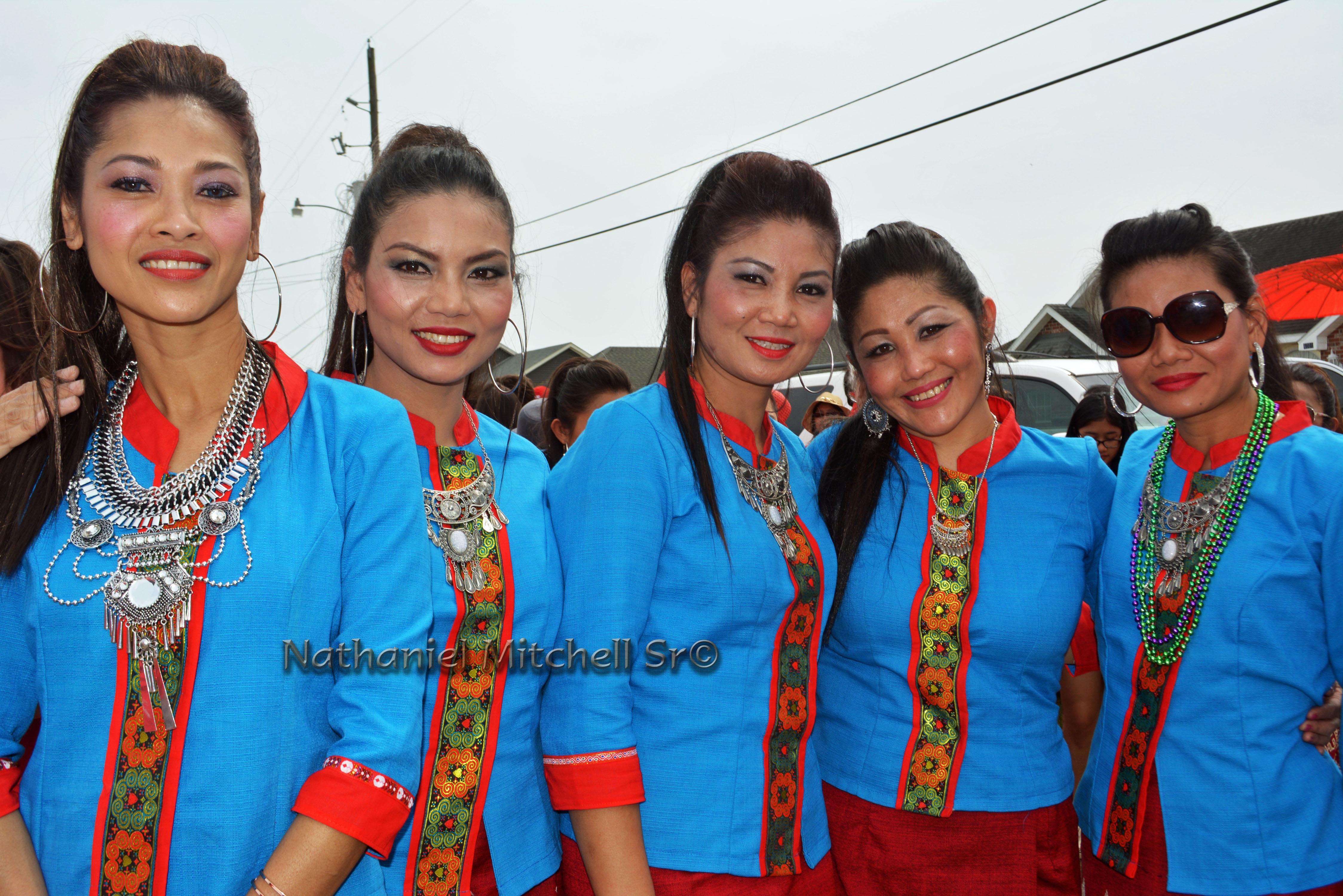Ladies celebrate Lao New Year at Buddhist temple in Coteau, louisiana