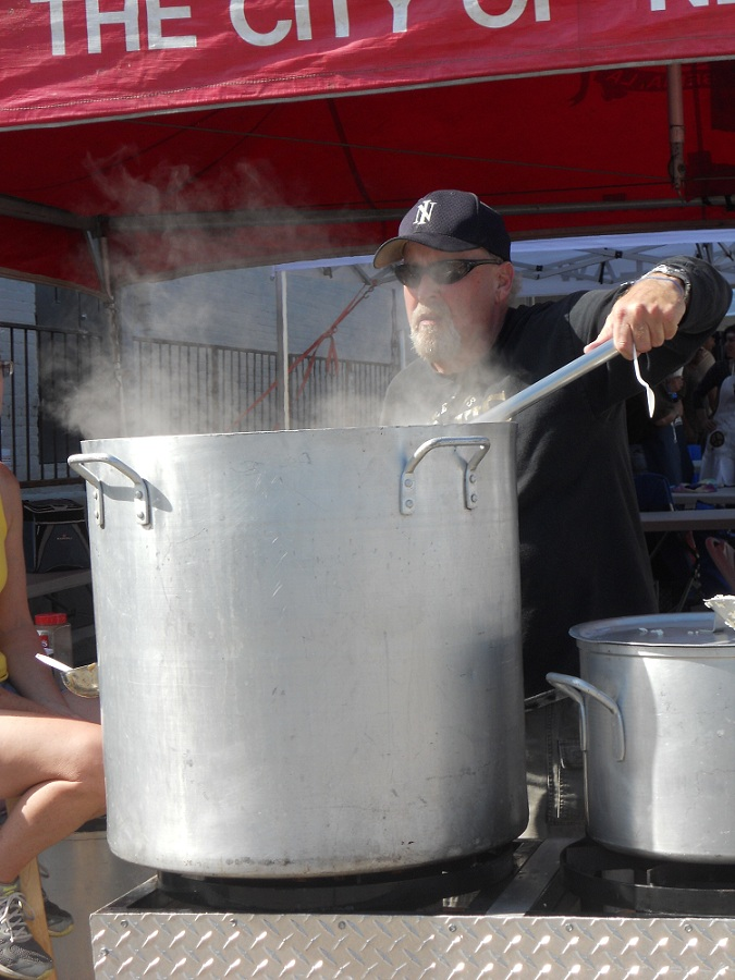 Cooking pot of gumbo at gumbo cookoff