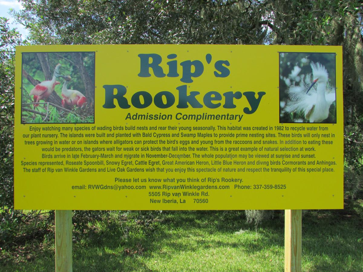 Rip's Rookery sign at Jefferson Island Rip Van Winkle Gardens